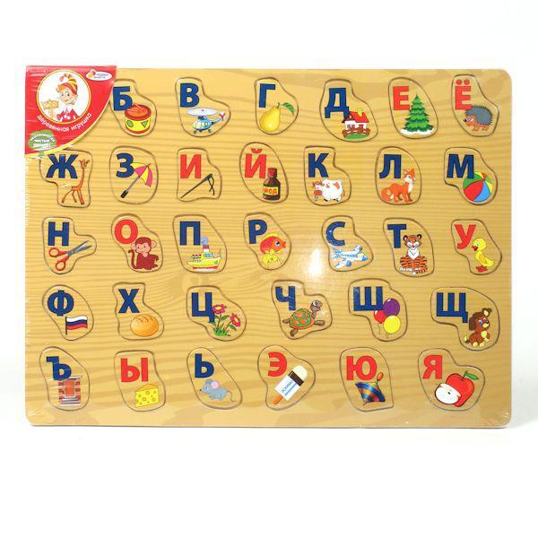 """b1f188daa Деревянная рамка-вкладыш """"Играем вместе"""" Алфавит с картинками  Рамка-вкладыш деревянная"""